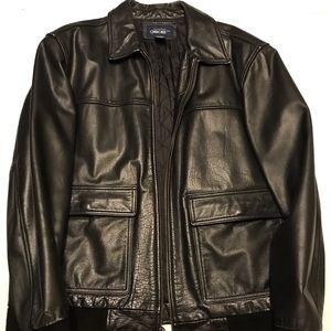 Black Leather bomber jacket.